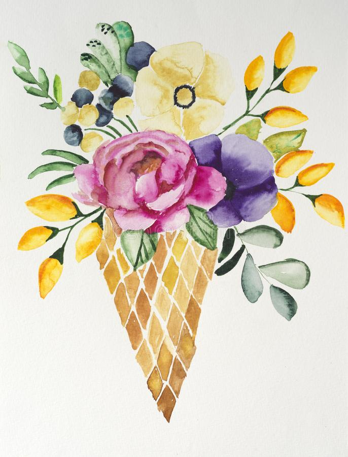 Handmade drawing of bouquet of flowers royalty free stock images