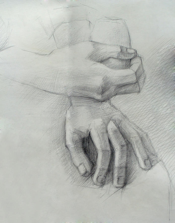 Download A Handmade Drawing Of Hands Stock Illustration - Image: 15057670