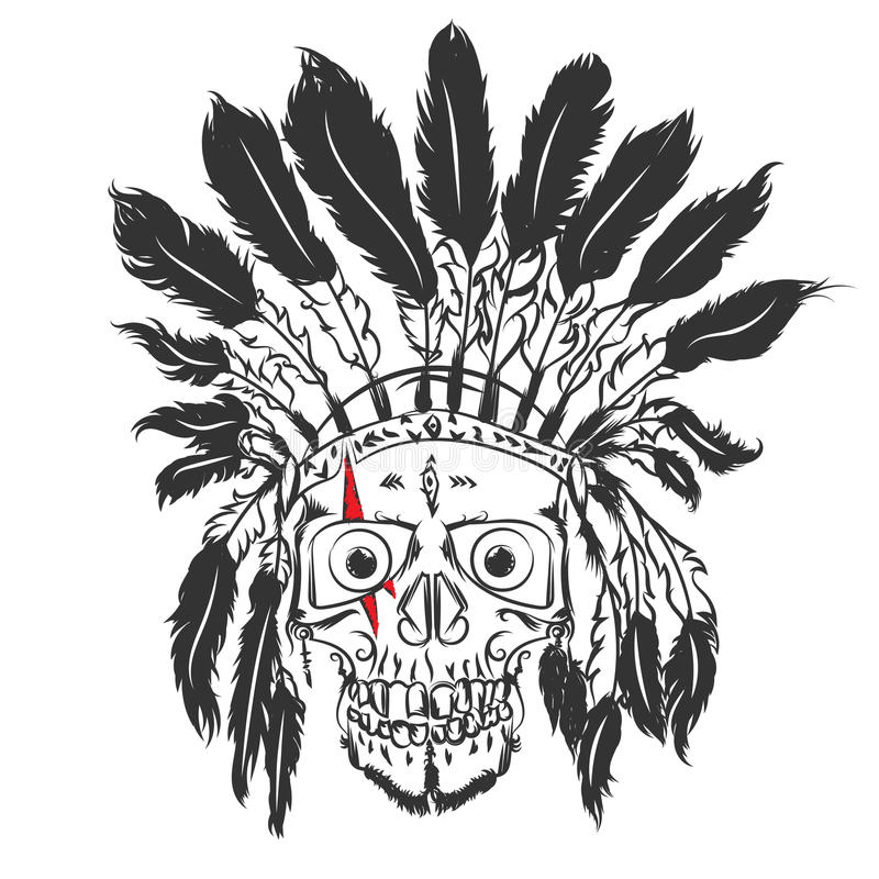 Handmade Drawning Skull With Indian Feather Hat. Grunge Print ...