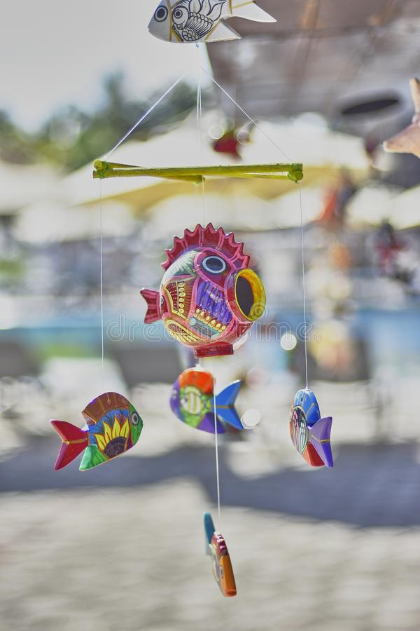 Handmade dream catcher. In the shape of a fish: a souvenir from Mexico royalty free stock photos