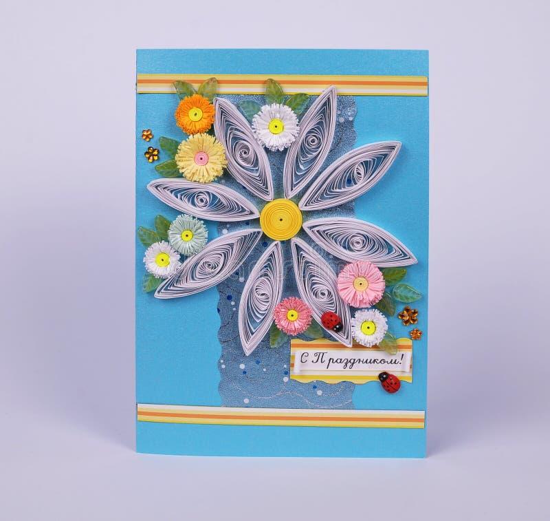 Handmade dziękuje ciebie pocztówkowego z chamomiles fotografia stock