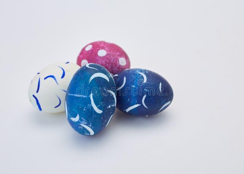 handmade easter eggs on white royalty free stock images