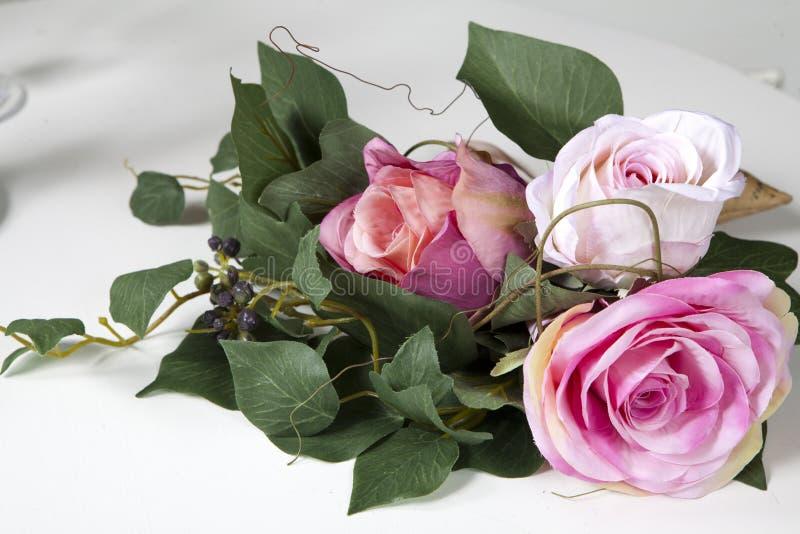 Handmade fake pink rose royalty free stock images