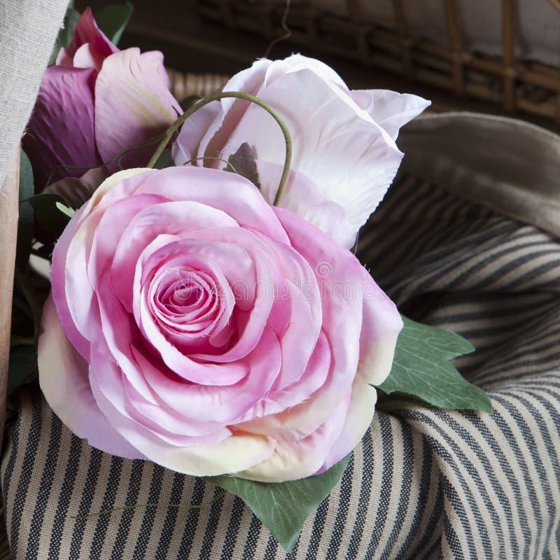 Handmade fake pink rose stock images