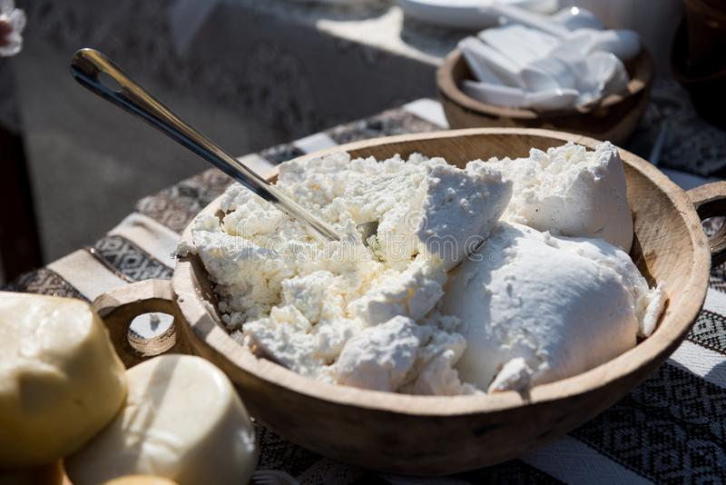 Handmade farm cheese in farmer`s market stock photos