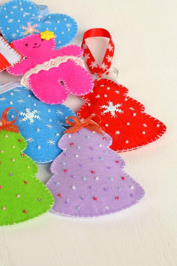 Handmade felt Christmas toys. Handmade kids craft royalty free stock photos