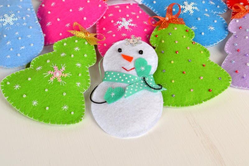 Handmade felt Christmas toys. Handmade kids craft royalty free stock photo