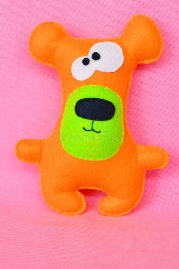 Handmade felt toy bear. Felt crafts. Felt toys. Felt bear. Sewing DIY stock photo