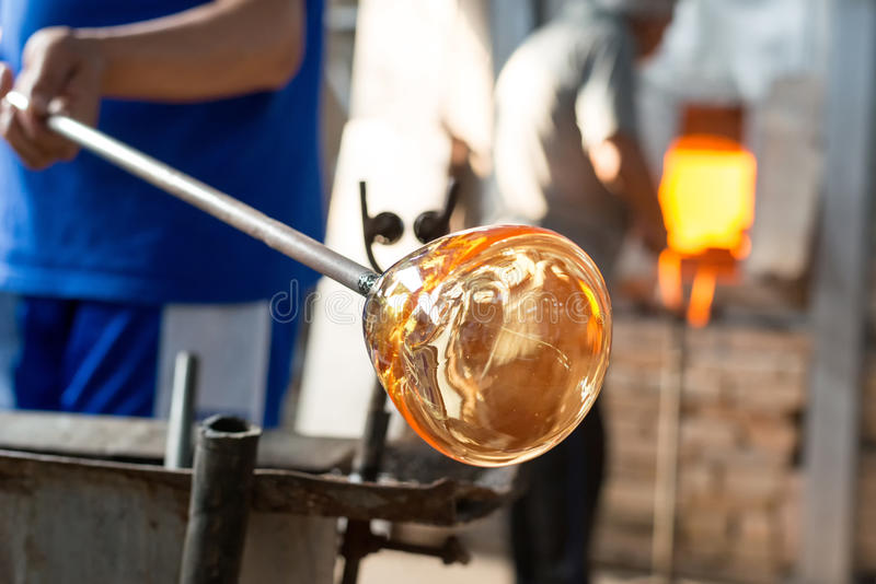 Handmade figures of melted glass stock photos