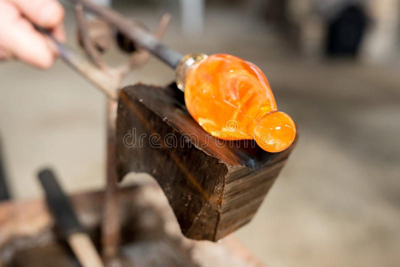 Handmade figures of melted glass. Selective focus, copy space royalty free stock image