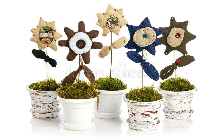Handmade flower in pot