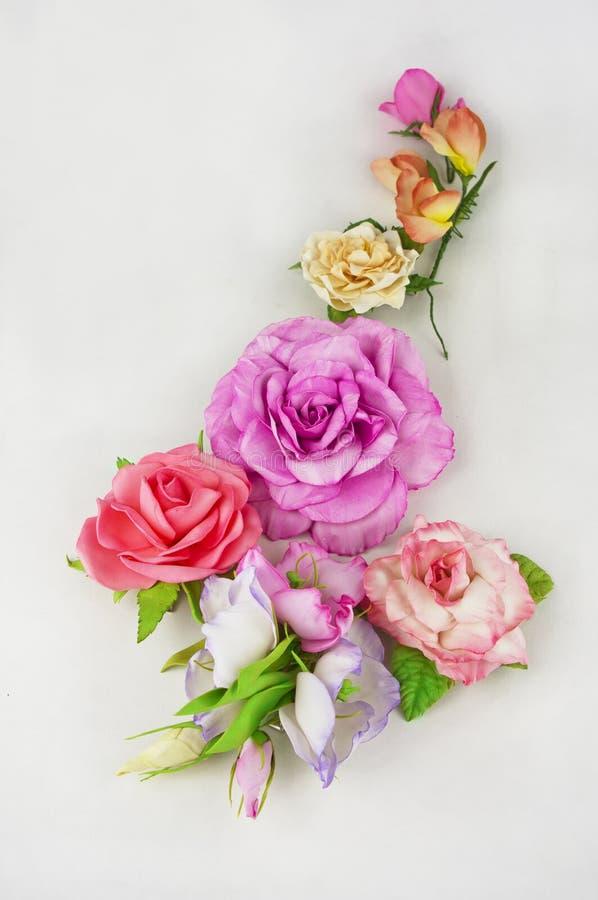 Handmade foamiran ткани цветка на белой предпосылке стоковое изображение