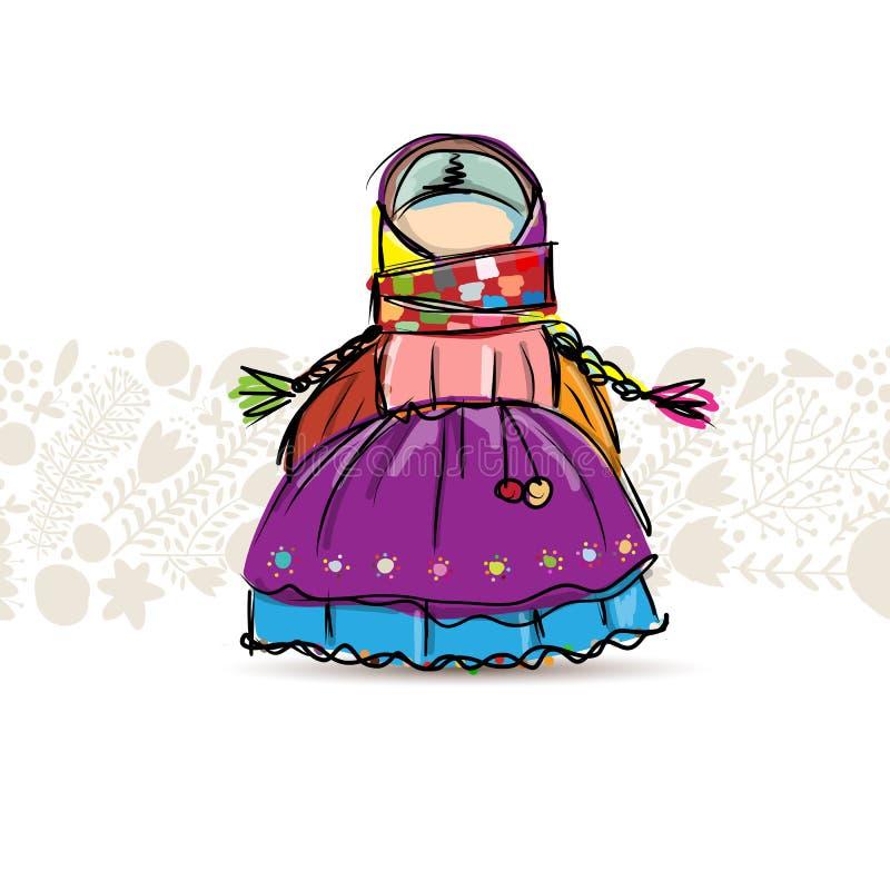 Handmade folk doll mascot, sketch for your design. Vector illustration stock illustration