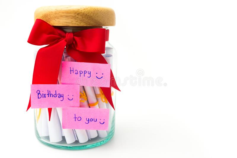 Handmade gift box in birthday isolate on white background. royalty free stock photography