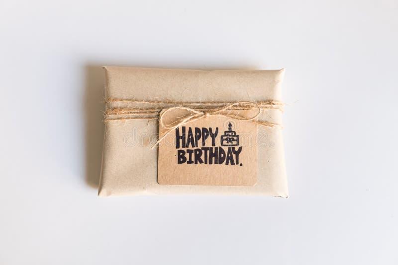 Handmade gift with Happy Birthday card, Celebration congratulation. HBD stock photo