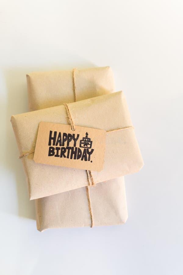 Handmade gift with Happy Birthday card, Celebration congratulation. HBD stock photography