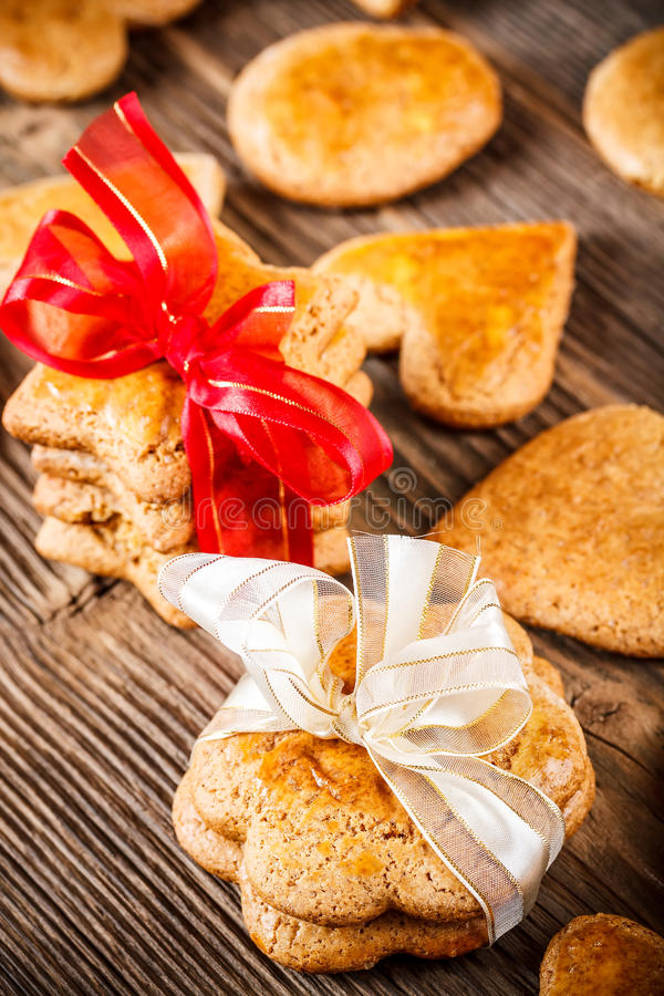 Handmade gingerbread cookies. On wooden table royalty free stock photos