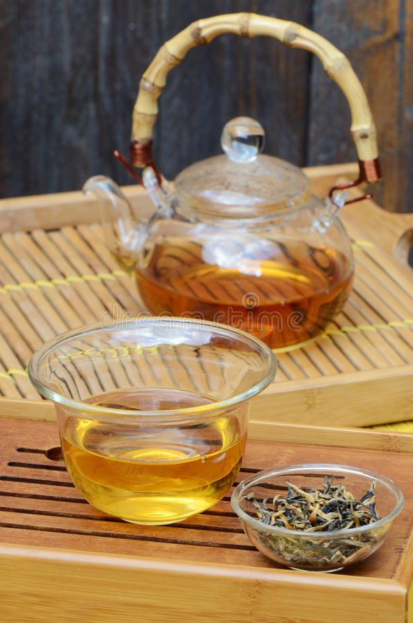 Chinese tea set and Yunnan golden tea royalty free stock photos
