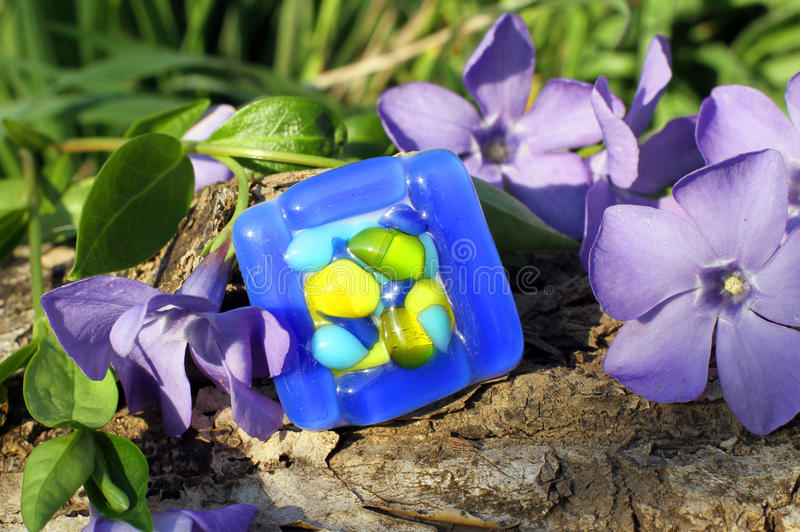 Handmade glass ring on the nature background royalty free stock images