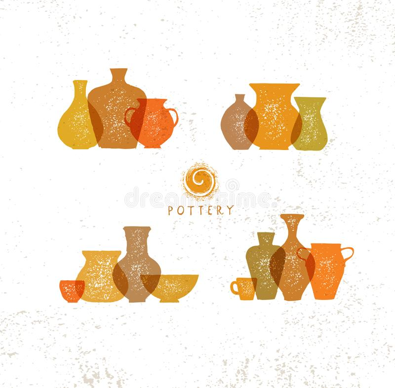 Handmade Gliniany Ceramiczny warsztat Artisanal Kreatywnie rzemiosło znaka pojęcie ilustracja organiczne royalty ilustracja