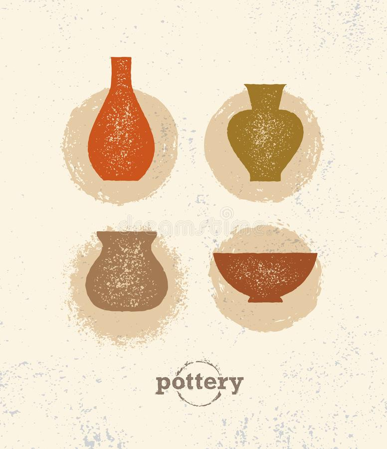 Handmade Gliniany Ceramiczny warsztat Artisanal Kreatywnie rzemiosło znaka pojęcie Organicznie ilustracja Na szorstkim tle ilustracji