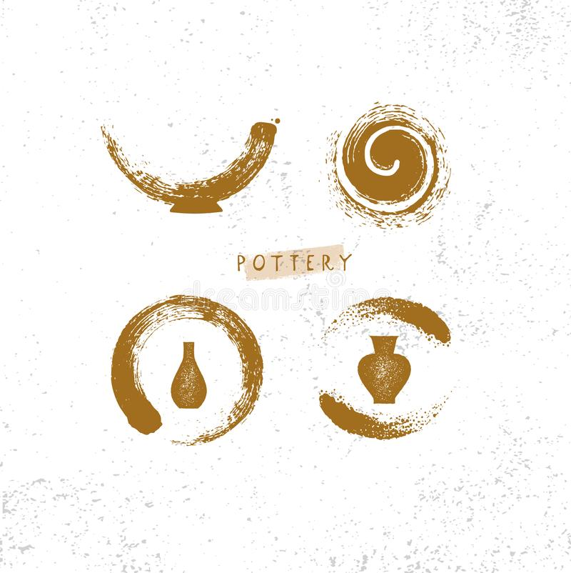 Handmade Gliniany Ceramiczny warsztat Artisanal Kreatywnie rzemiosło znaka pojęcie Organicznie ilustracja Na szorstkim tle royalty ilustracja