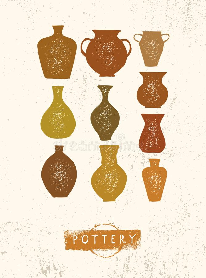 Handmade Gliniany Ceramiczny warsztat Artisanal Kreatywnie rzemiosło znaka pojęcie Organicznie ilustracja Na szorstkim tle ilustracja wektor