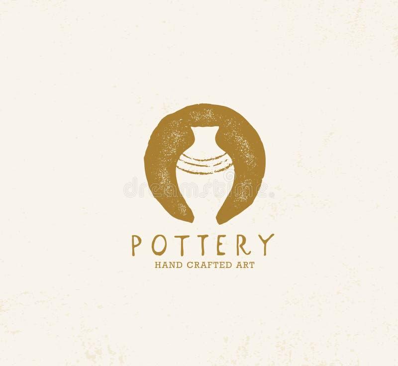 Handmade Gliniany Ceramiczny warsztat Artisanal Kreatywnie rzemiosło znaka pojęcie Organicznie ilustracja Na Textured tle ilustracji