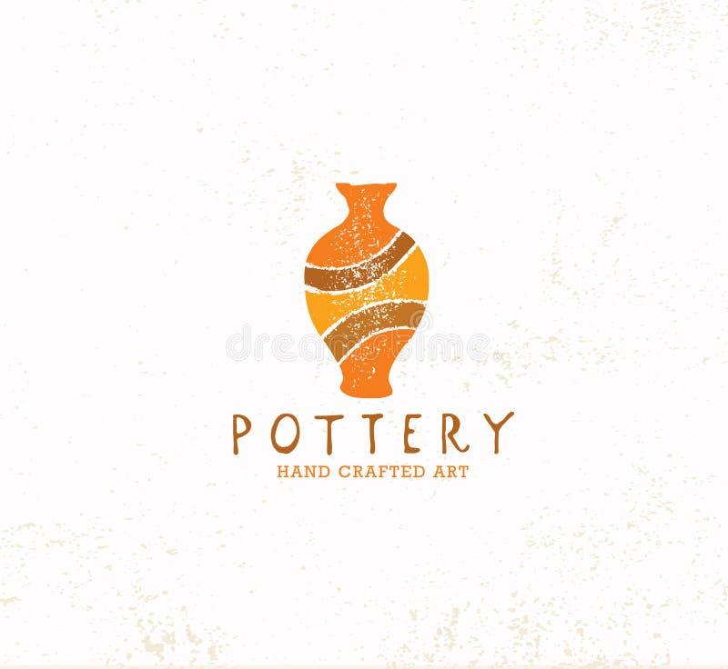 Handmade Gliniany Ceramiczny warsztat Artisanal Kreatywnie rzemiosło znaka pojęcie Organicznie ilustracja Na Textured tle royalty ilustracja