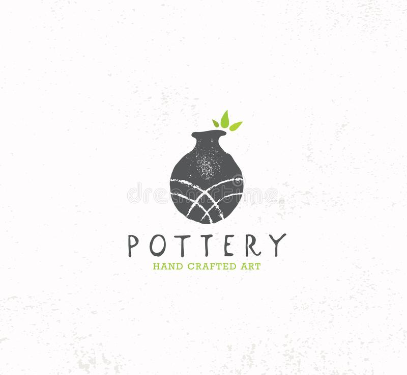 Handmade Gliniany Ceramiczny warsztat Artisanal Kreatywnie rzemiosło znaka pojęcie Organicznie ilustracja Na Textured tle ilustracja wektor