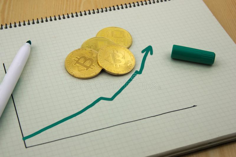 Graph of the rise in profits stock image