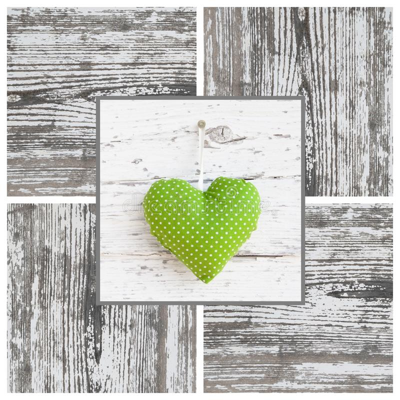 Free Handmade Green Dotted Heart Shape And Wooden Frame - Handmade - Royalty Free Stock Photos - 35003178