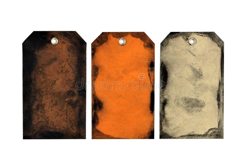 Handmade Halloween or autumn gift tags isolated on white stock photos