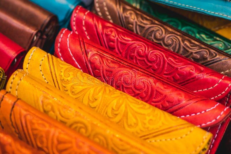 Handmade handbags made of coloured leather. Arabian Pocket Wallets royalty free stock photo