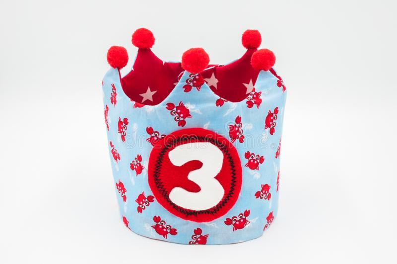Handmade happy birthday cloth crown isolated on white background. Handmade happy birthday cloth crown isolated stock photography