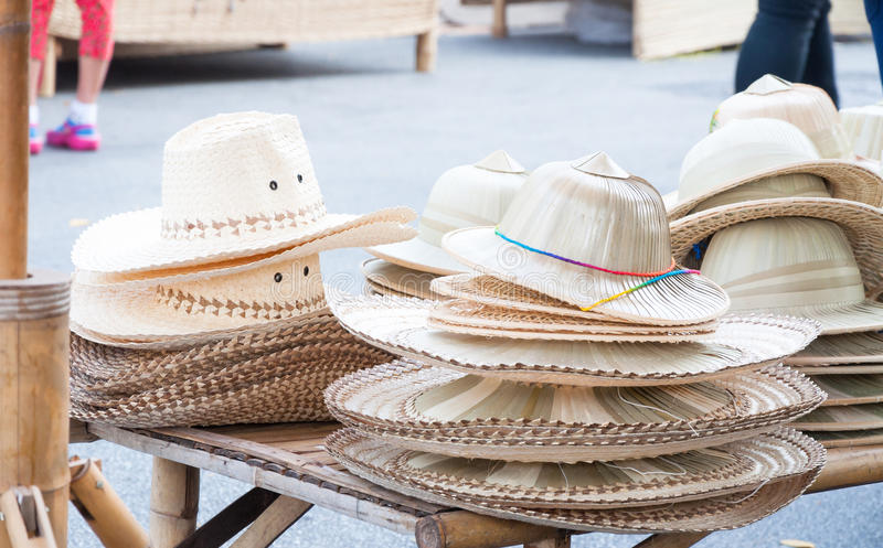 Handmade Hats woven from bamboo Hats arrangement royalty free stock image