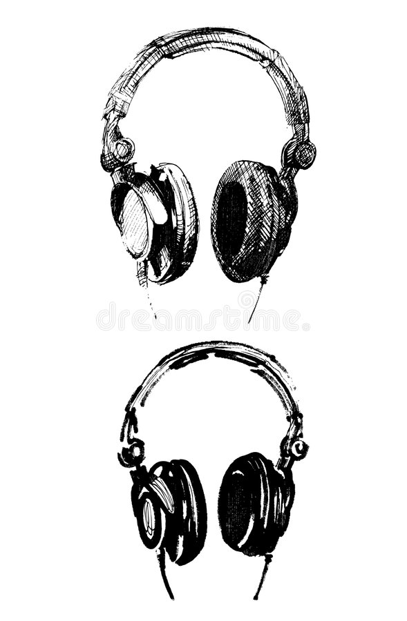 Handmade headphone illustrations-vector. Two different handmade illustrations of headphones-graphic elements royalty free illustration