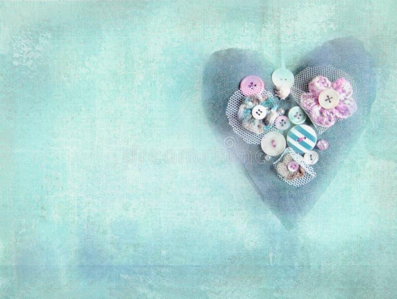 Handmade heart on grunge turquoise background. royalty free illustration