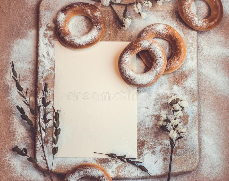 Handmade homemade bagel. Fresh pastries with sugar. Spring mood. Tasty background stock photo