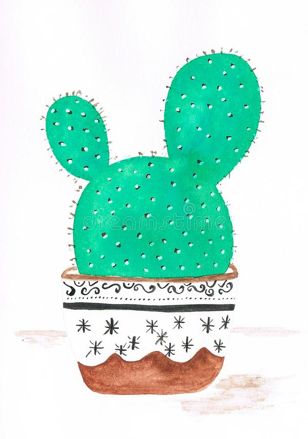 Handmade illustration of cactus bunny ears in a detailed flowerpot. Made with paints vector illustration