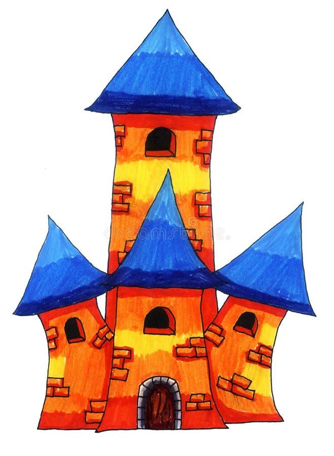 Orange Fantasy Castle With Blue Roof vector illustration