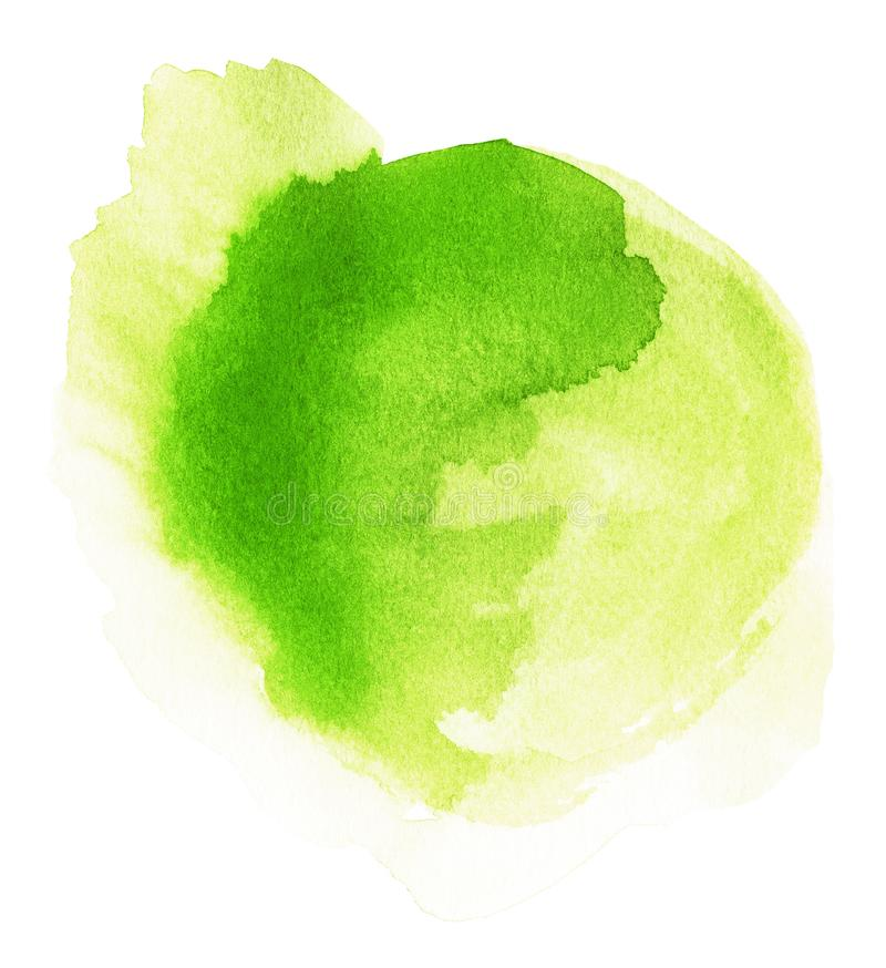 Magical Blob of Green Watercolor. Handmade illustration of green watercolor royalty free stock photography
