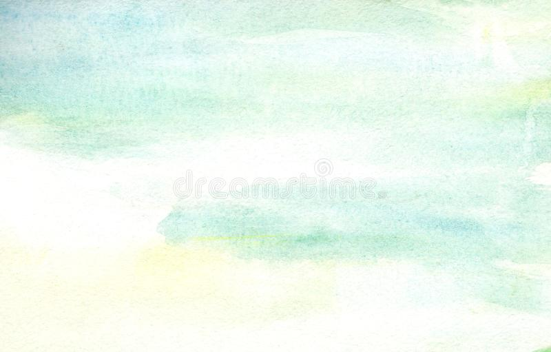 Handmade illustration light sky blue and light yellow watercolor background. royalty free stock photography