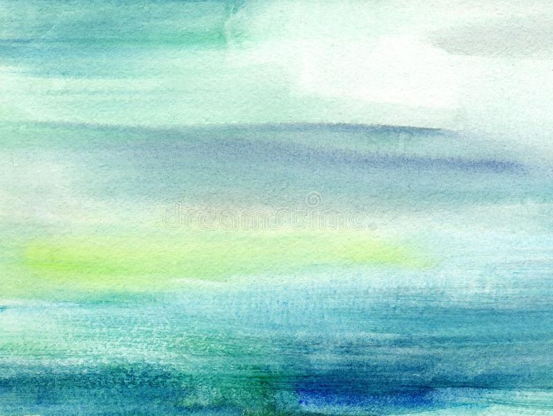 Handmade illustration light sky blue and yellow watercolor background. Aquarelle paint paper textured canvas element for copy space, greeting card, template royalty free stock images