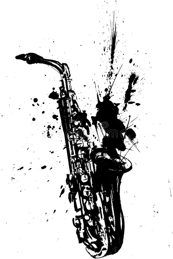 Handmade illustration of a saxophone stock illustration