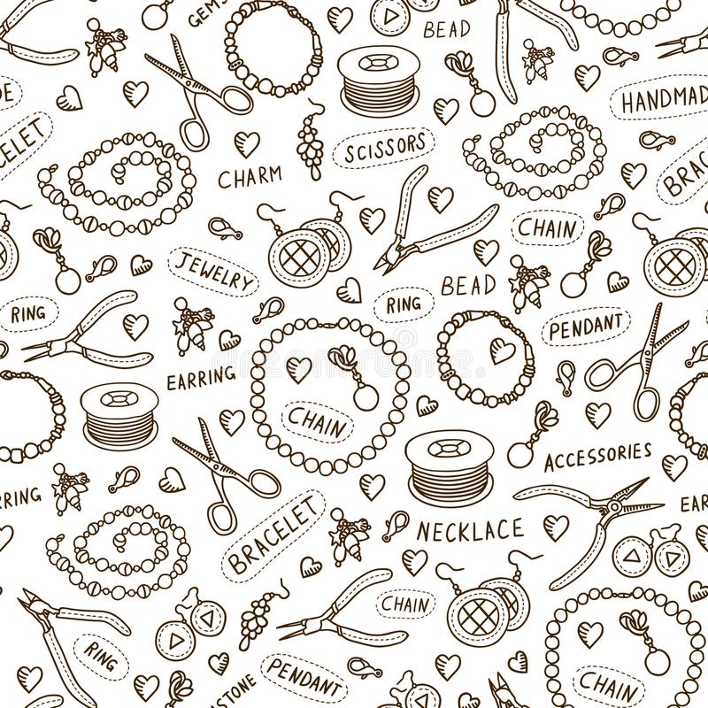 Handmade jewelry elements and tools vector seamless pattern. Beads and accessories monochrome background in sketch style. Hand drawn design texture in brown stock illustration