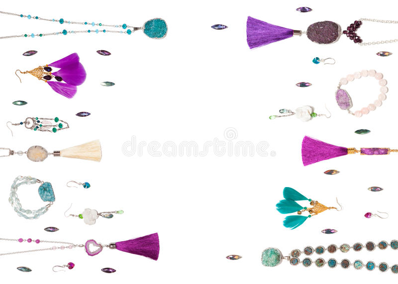 Handmade jewelry isolated on the white background royalty free stock images