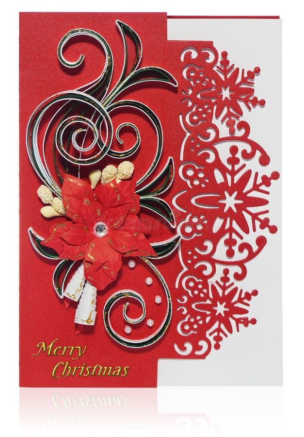 Handmade kartka bożonarodzeniowa z Wesoło bożych narodzeń poins i powitaniami obraz stock
