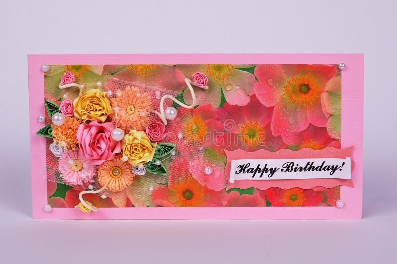Handmade kartka z pozdrowieniami z różami zdjęcia stock