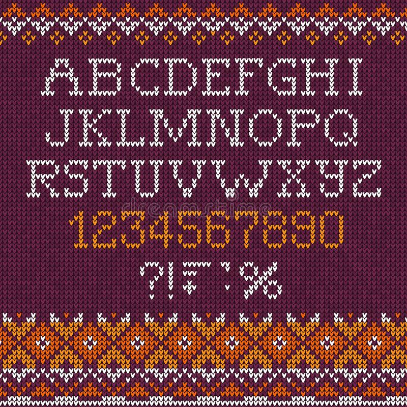 Handmade knitted abstract background pattern font alphabet abc letters, numbers, vector illustration